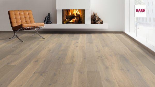 Drevená podlaha Haro DUB FUMED Puro biely Sauvage 13,5mm click 538 940