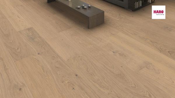 Drevená podlaha Haro DUB Light biely Sauvage 13,5mm click