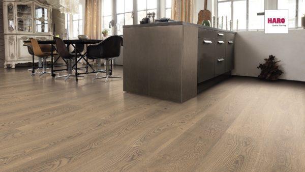 Drevená podlaha Haro DUB Tobacco sivý Universal alpine 13,5mm click 538 967